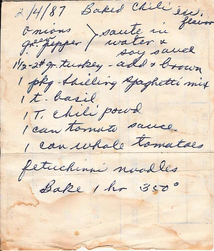 Baked chili handwritten by Mary Kachelmyer, typed below.