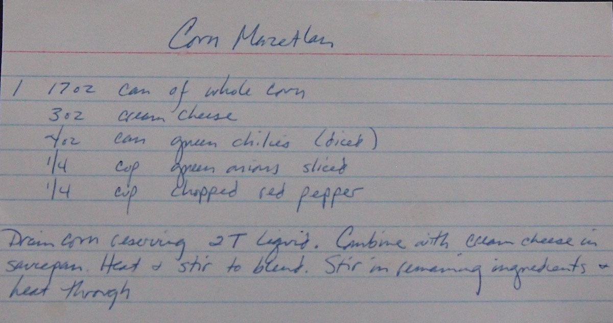 Handwritten recipe for .corn Mazatlan, typed below