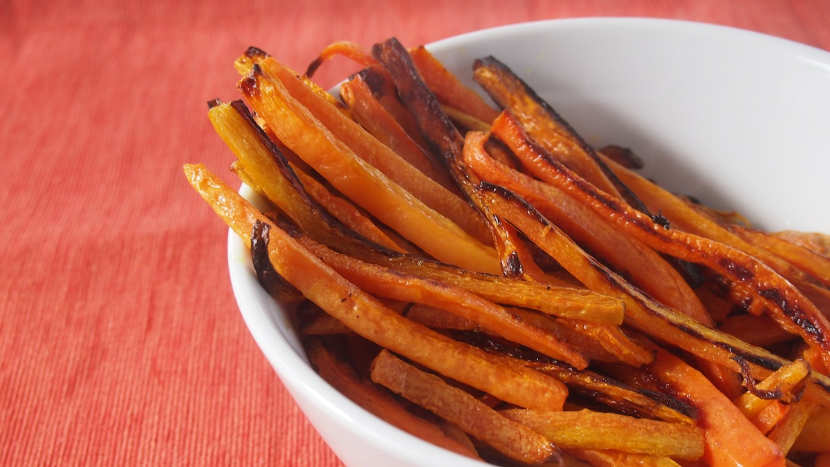 A bowl of carrot fries ready to be served up.