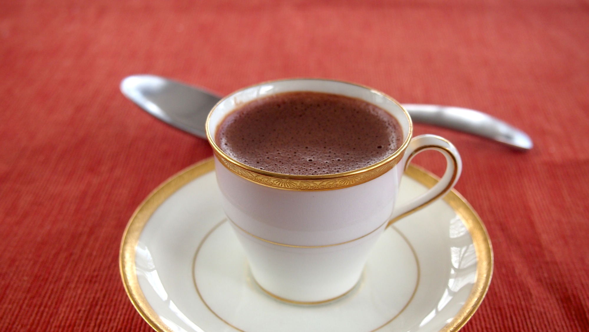 Chocolate pots de creme in an espresso cup