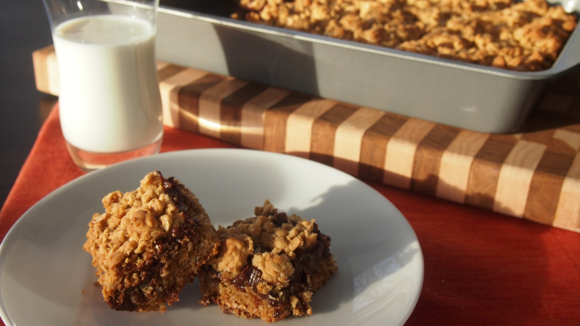 Chocolate revel bars with milk.